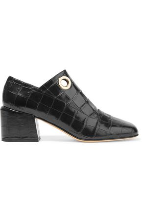 TIBI Marlow eyelet-embellished croc-effect leather ankle boots