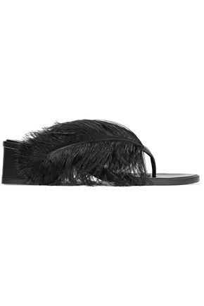 TIBI Mira feather-embellished leather sandals