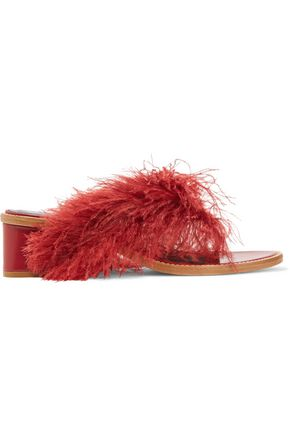 TIBI Mira feather-embellished leather sandals
