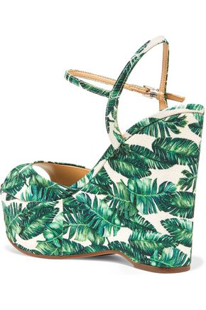 SCHUTZ Patrycia printed canvas wedge sandals