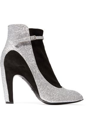 MAISON MARGIELA Suede-paneled glittered leather ankle boots