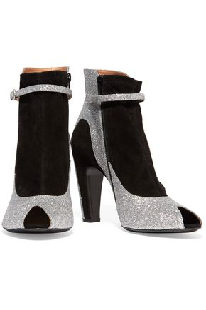 MAISON MARGIELA Suede-paneled glittered leather ankle boots