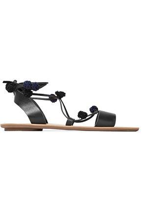 LOEFFLER RANDALL Pompom-embellished lace-up leather sandals