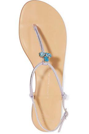 GIUSEPPE ZANOTTI DESIGN Embellished metallic leather sandals