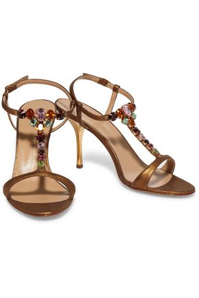 GIUSEPPE ZANOTTI Crystal-embellished metallic textured-leather sandals