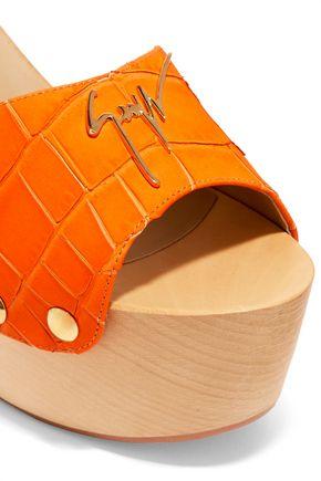 GIUSEPPE ZANOTTI DESIGN Croc-effect leather clogs