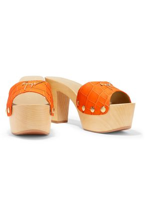 GIUSEPPE ZANOTTI Croc-effect leather clogs