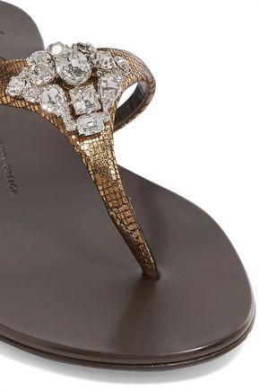 GIUSEPPE ZANOTTI DESIGN Crystal-embellished textured-leather sandals