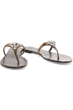 GIUSEPPE ZANOTTI Crystal-embellished textured-leather sandals