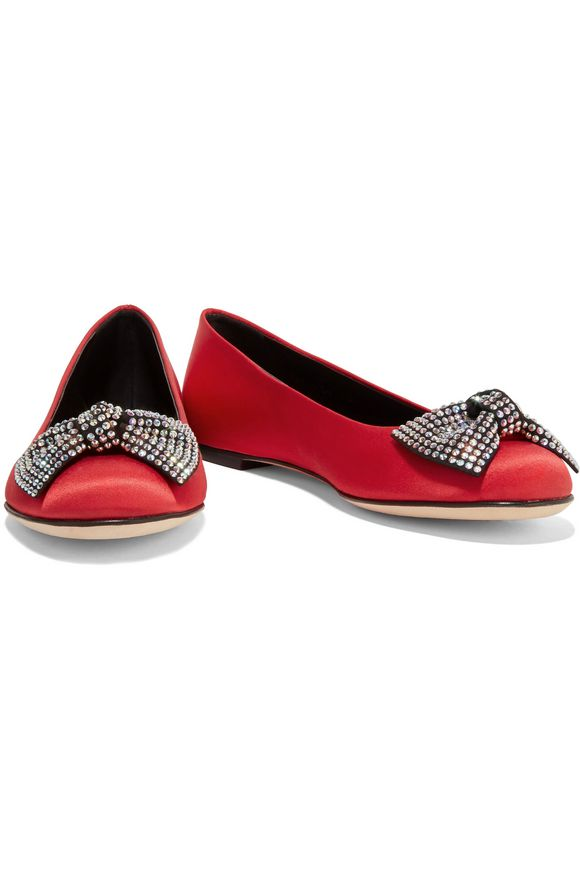 Embellished satin ballet flats | GIUSEPPE ZANOTTI DESIGN | Sale up to 70%  off | THE OUTNET