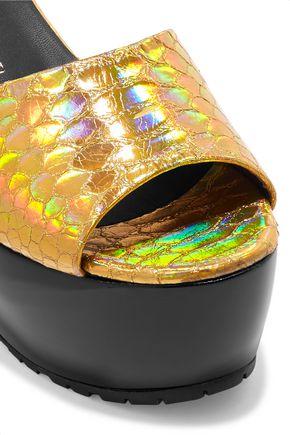 GIUSEPPE ZANOTTI Metallic snake-effect leather platform sandals