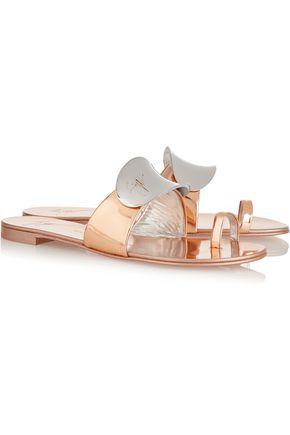 GIUSEPPE ZANOTTI Embellished metallic patent-leather sandals