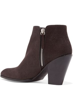 GIUSEPPE ZANOTTI Lizard-effect leather ankle boots