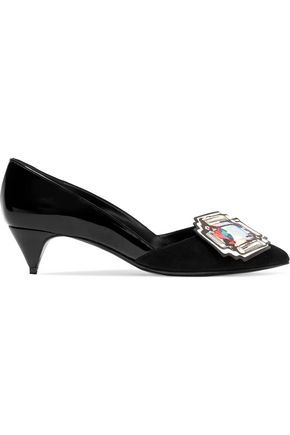 PIERRE HARDY Mega Gem embellished suede and patent-leather pumps