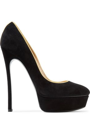 CASADEI Metallic leather-trimmed suede platform pumps