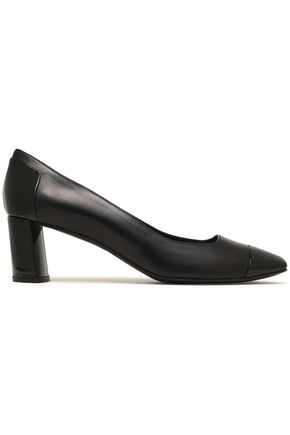 CASADEI Paneled patent-leather and leather pumps