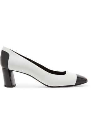 CASADEI Two-tone paneled patent-leather and leather pumps