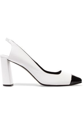 CASADEI Patent leather-trimmed leather slingback pumps