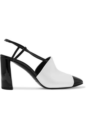 CASADEI Smooth and patent-leather slingback pumps
