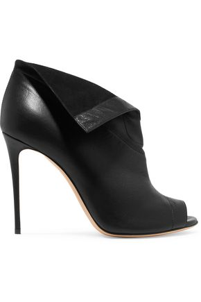 CASADEI Folded textured-leather pumps