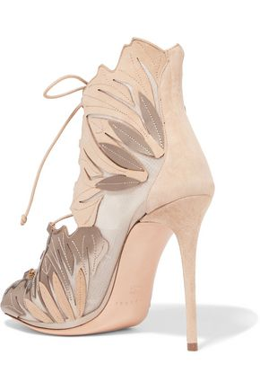 CASADEI Mesh-paneled metallic leather and suede pumps