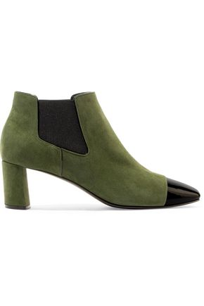 CASADEI Suede and patent-leather ankle boots