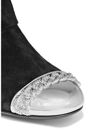CASADEI Fold-over embellished suede boots