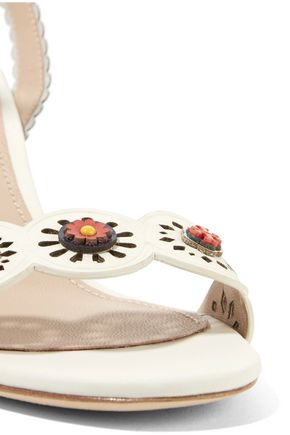 TORY BURCH Floral-appliquéd laser-cut leather sandals
