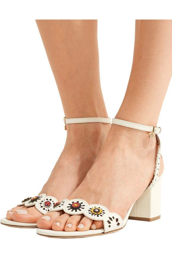 6b4ccb3bb2554 Marguerite floral-appliquéd laser-cut leather sandals