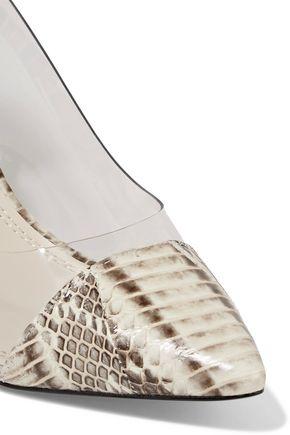 SANDRO Ashley PVC-paneled python-effect leather pumps