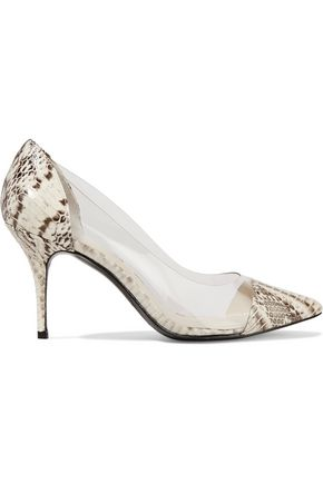 SANDRO Ashley PVC-paneled python-effect leather pumps