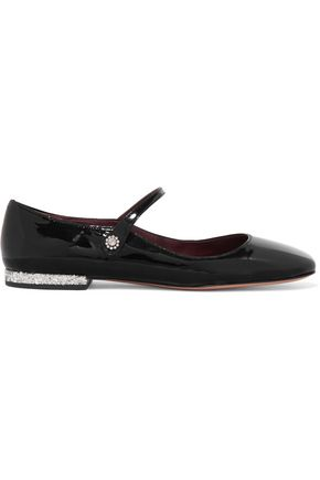 MARC BY MARC JACOBS Brooke embellished patent-leather Mary Jane ballet flats