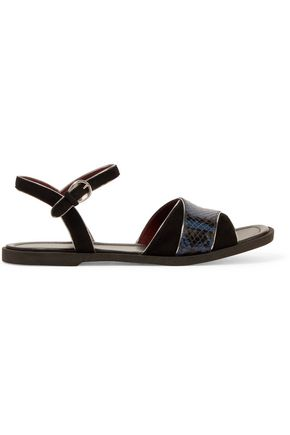 MARC BY MARC JACOBS Jodie metallic leather-trimmed suede and python-effect leather sandals
