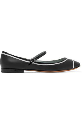 MARC JACOBS Poppy metallic-trimmed patent-leather ballet flats