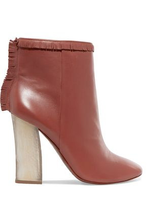 TORY BURCH Bandelier fringed leather ankle boots