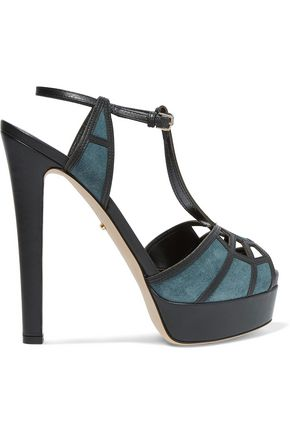 SERGIO ROSSI Cutout suede and leather platform sandals
