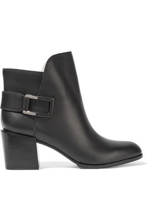 SERGIO ROSSI Buckled leather ankle boots