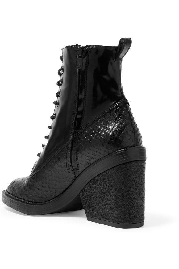 Bono snake-effect and patent-leather ankle boots | ROBERT CLERGERIE | Sale  up to 70% off | THE OUTNET