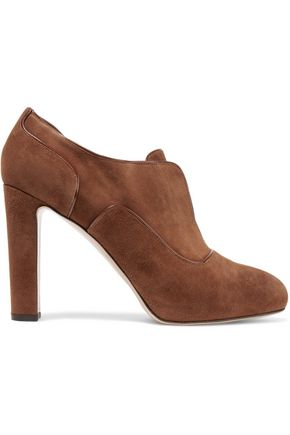 GIANVITO ROSSI Leather-trimmed suede pumps
