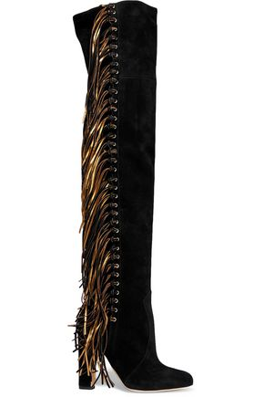 BRIAN ATWOOD Horsy metallic fringed suede over-the-knee boots