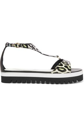 JUST CAVALLI Animal-print leather sandals