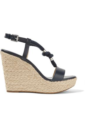 MICHAEL MICHAEL KORS Holly rope-trimmed leather wedge sandals