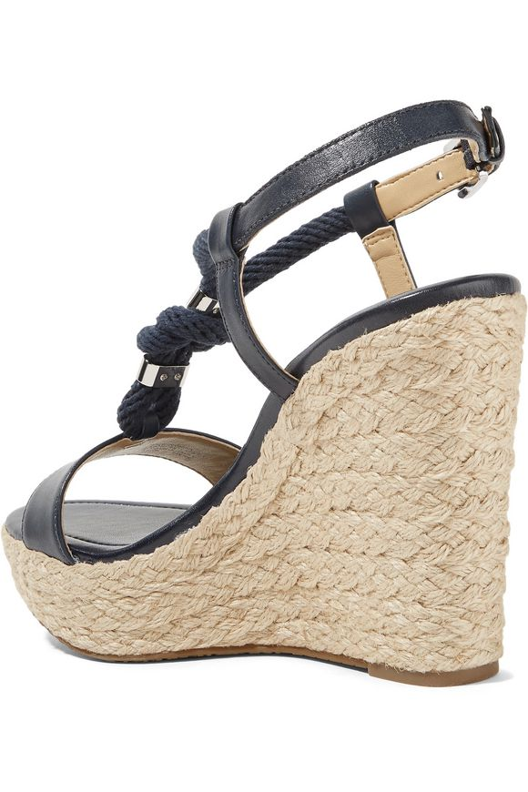 Holly rope-trimmed leather wedge sandals | MICHAEL MICHAEL KORS | Sale up  to 70% off | THE OUTNET