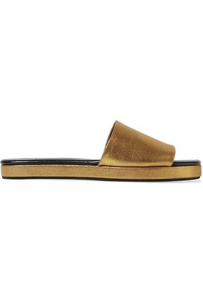 NEWBARK Frankie metallic brushed-leather slides