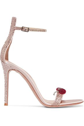 GIANVITO ROSSI Crystal-embellished satin sandals