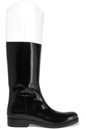 MICHAEL KORS COLLECTION Two-tone leather knee boots