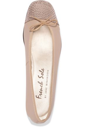 FRENCH SOLE Snake-effect and smooth leather ballet flats