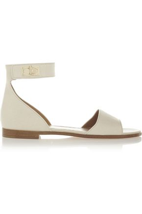 GIVENCHY Shark Lock textured-leather sandals