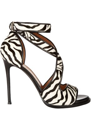 GIVENCHY Nilenia leather-trimmed zebra-print calf hair sandals