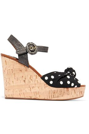 DOLCE & GABBANA Cady and raffia wedge sandals
